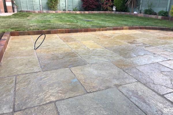 New Limestone Slabbed Patio
