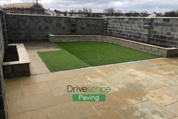 Garden Patio With New Artificial Grass
